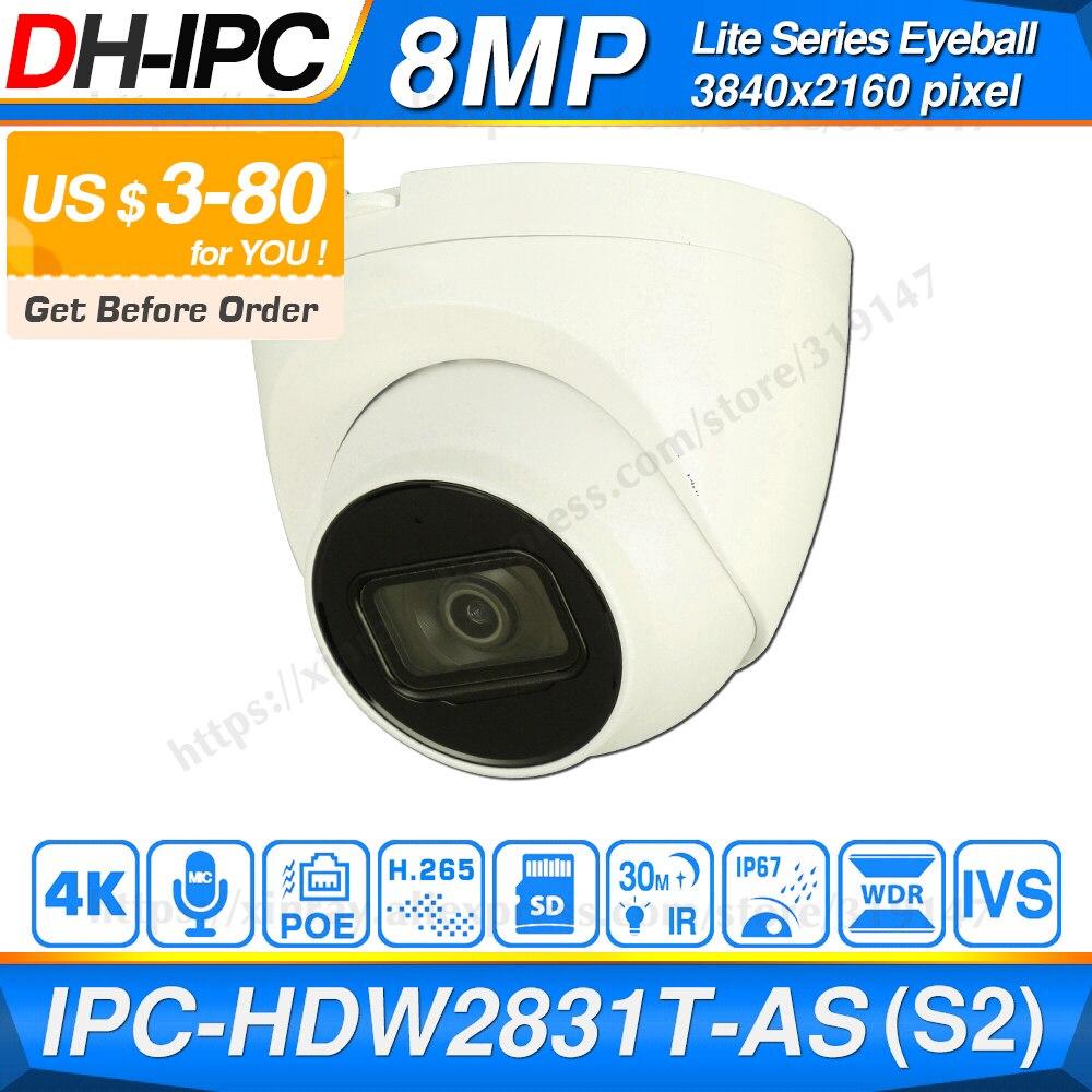 Dahua Original IPC-HDW2831T-AS 8MP POE intégré micro fente pour carte SD H.265 + 30M IR IVS Onvif IP67 Starlight caméra oculaire IP