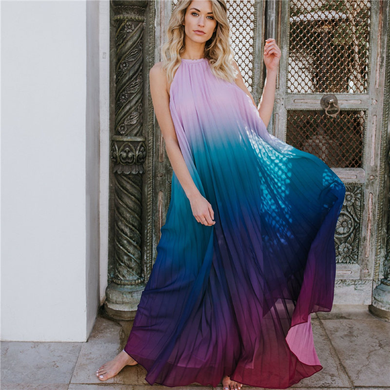 2020 Sexy Bikini Cover-ups Strap Halter Back Open Loose Summer Dress Women Plus Size Beachwear Swimsuit Cover Up Sarongs A124