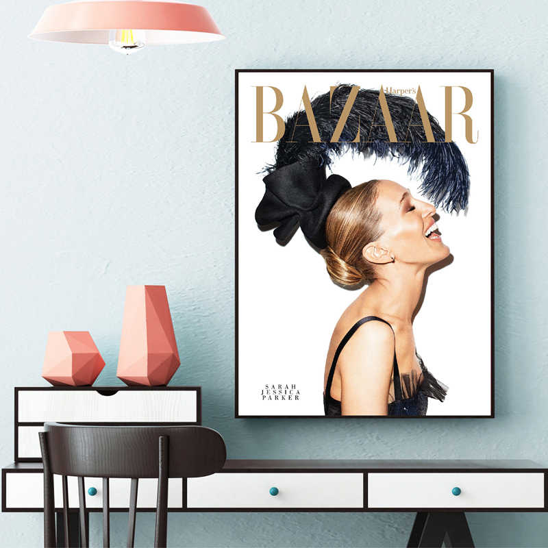 Sarah Jessica Parker Magazine Cover Poster Wall Picture Canvas Art Painting Vogue Cover Fashion Quotes Prints Home Decoration
