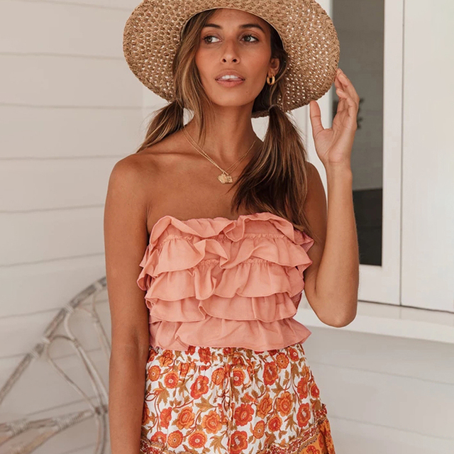 Milalit Cascading Ruffles Strapless Yellow Pink Mix Color Patchwork Slash Neck Short Sleeveless Tops with Backless Tie Ribbon 5