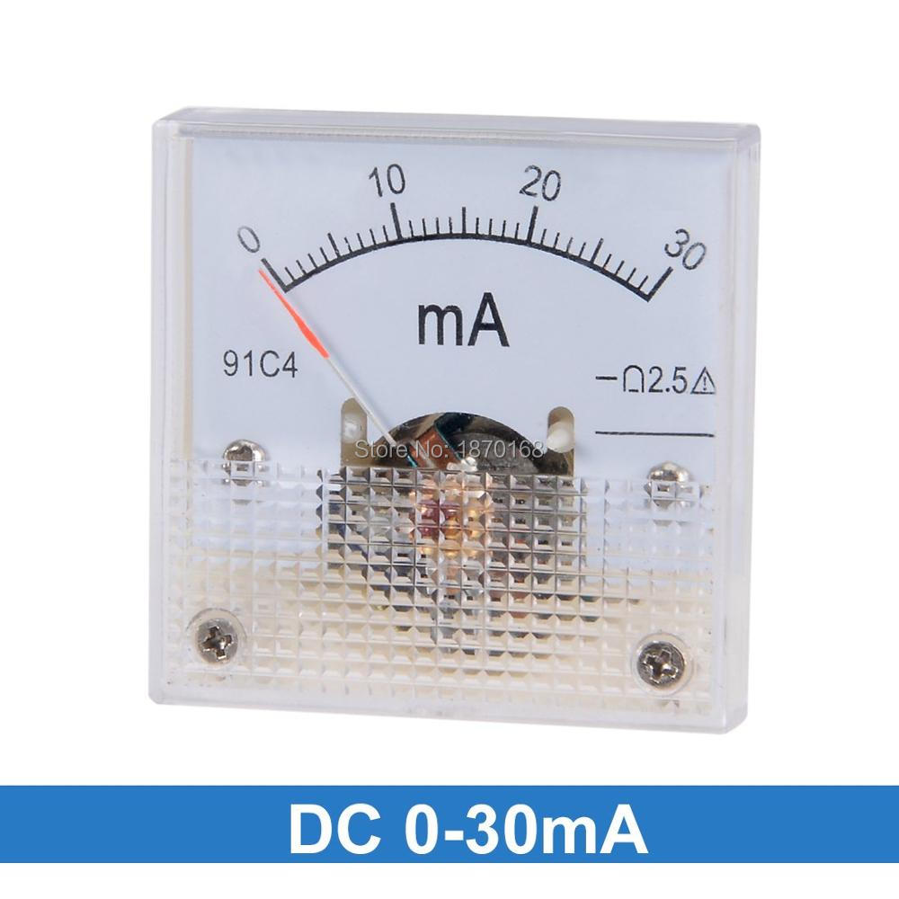 91C4 Ammeter DC Analog Current Meter Panel Mechanical Pointer Type 1/2/3/<font><b>5</b></font>/10/20/30/50/100/200/300/<font><b>500mA</b></font>/100uA/500UA image