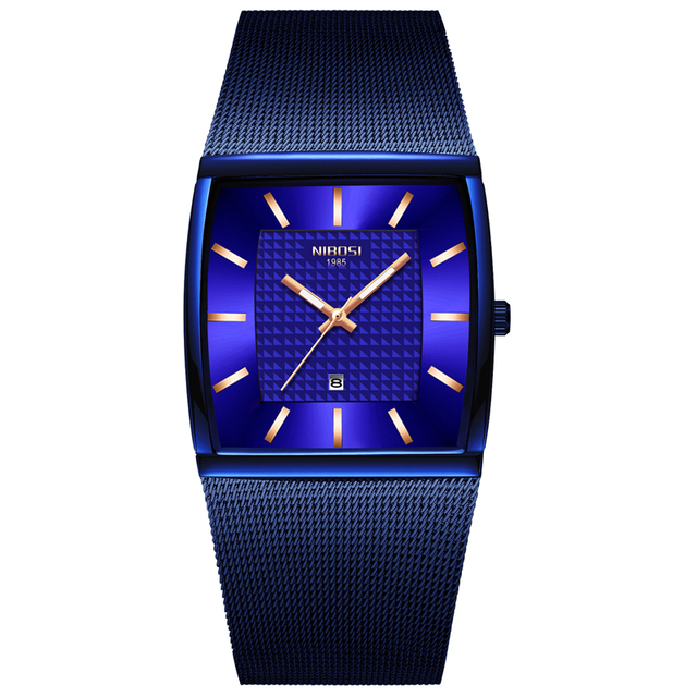 NIBOSI Herren Uhren Top Brand Luxus Blau Platz Quarzuhr Männer Dünne Wasserdichte Goldene Männliche Armbanduhr Männer Relogio Masculino