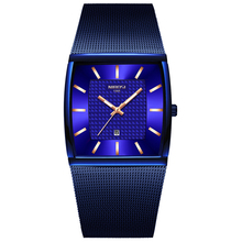 NIBOSI Luxury Blue Square Quartzนาฬิกาผู้ชายกันน้ำGoldenชายนาฬิกาข้อมือผู้ชายRelogio Masculino
