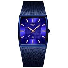 NIBOSI Mens Watches Top Brand Luxury Blue Square Quartz Watch Men Slim Waterproof Golden Male Wristwatch Men Relogio Masculino