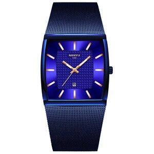 Image 1 - NIBOSI hommes montres haut de gamme de luxe bleu carré montre à Quartz hommes mince étanche or mâle montre bracelet hommes Relogio Masculino