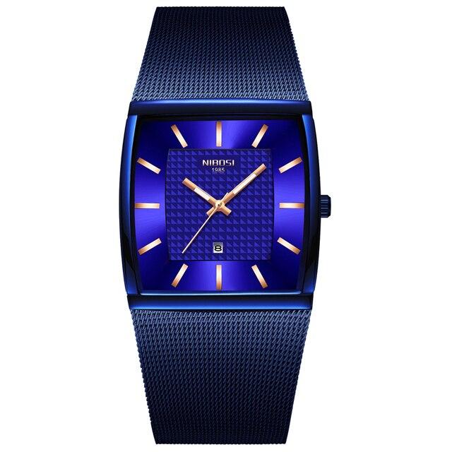 NIBOSI hommes montres haut de gamme de luxe bleu carré montre à Quartz hommes mince étanche or mâle montre bracelet hommes Relogio Masculino