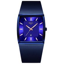 Мужские кварцевые часы NIBOSI, синие квадратные водонепроницаемые наручные часы с золотым ремешком, 2019
