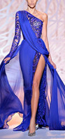 Royal Blue One Shoulder Long Sleeves Special Occasion Dresses High Side Split Evening Gown for Women