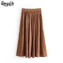 2019 Fashion New Spring Autumn skirt england style orange high waist pleated vintage mid-calf empire houndstooth long skirts