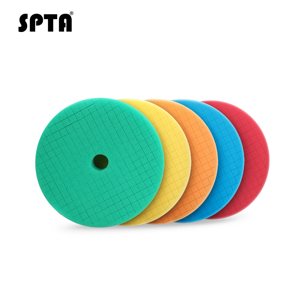 SPTA 6 Inch Sponge Polishing Pads For 5 Inch DA/RO Polisher Car Polish Buffing Pads Abrasive Sponge Polishing Disk Wholesale