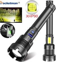 가장 밝은 XHP90 LED 손전등 XHP50 충전식 USB Zoomable 토치 Lanterna XHP70 18650 26650 캠핑 하이킹을위한 사냥 램프