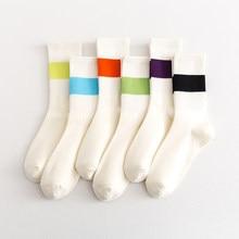Primavera e verão ins moda pinkycolor meias femininas meninas novos esportes de rua sólido colorido meio tubo meias listra macia