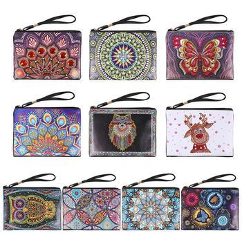 Bolso para pintar con diamantes DIY, bolsa de almacenamiento de cosméticos, bolso de mano, pintura de diamante, billetera de mujer, monedero, manualidad para regalo