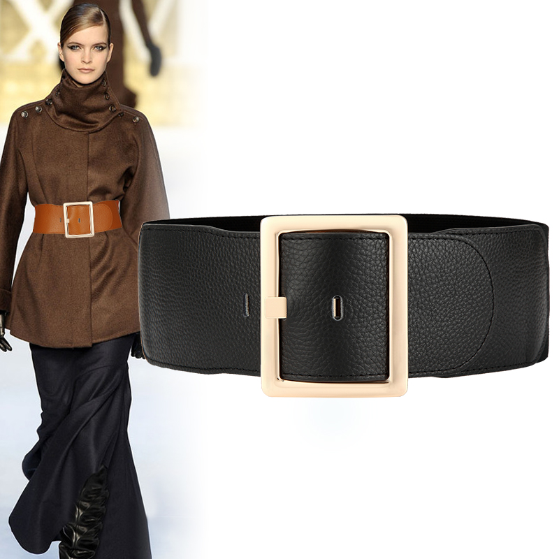 New Black Wide Corset Real Cowhide Elastic Belt Alloy Pin Buckle Genuine Leather Leisure Belts For Women Wedding Dress Waistband