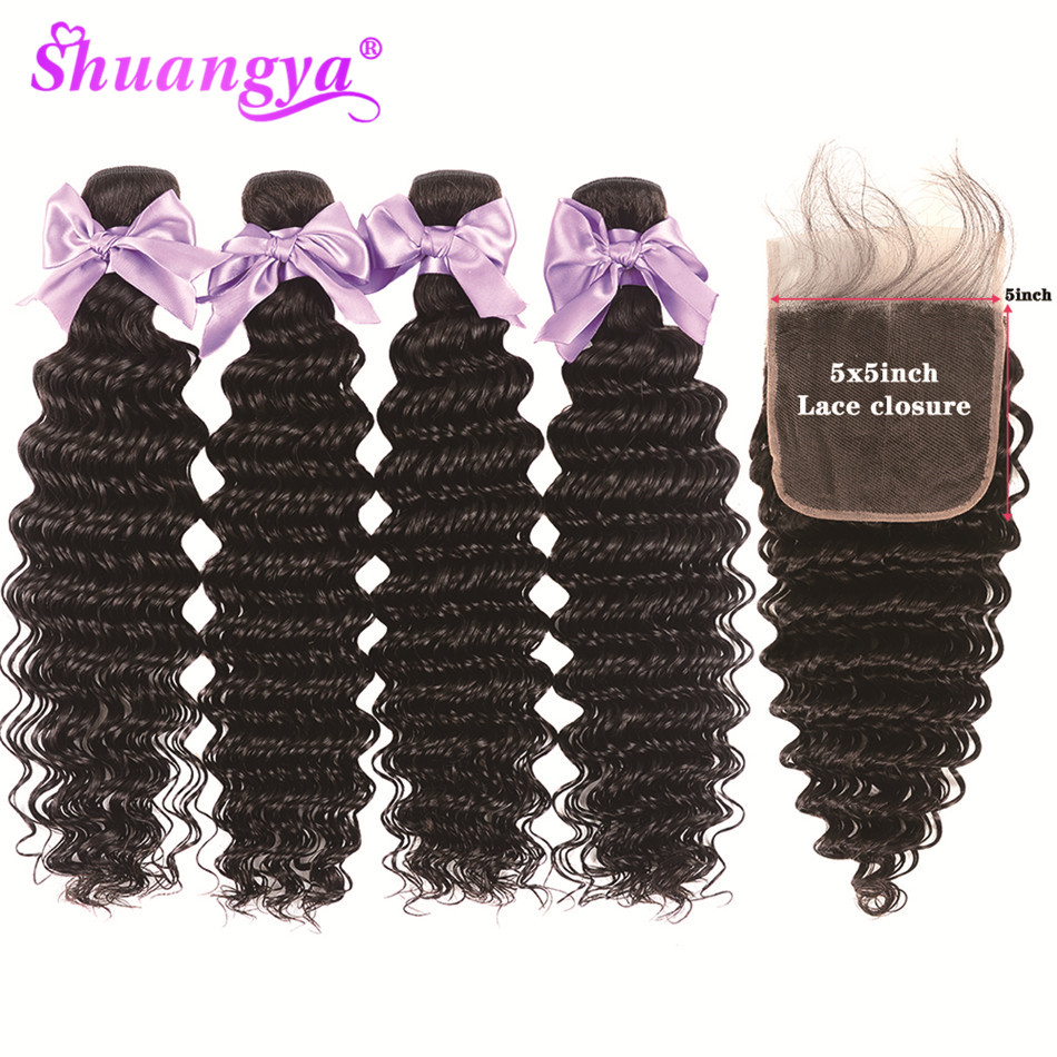 Peruvian Deep Wave Bundles With Closure Remy Hair 5x5 Closure With Bundles 100% Human Hair Bundles With Closure Shuangya Hair