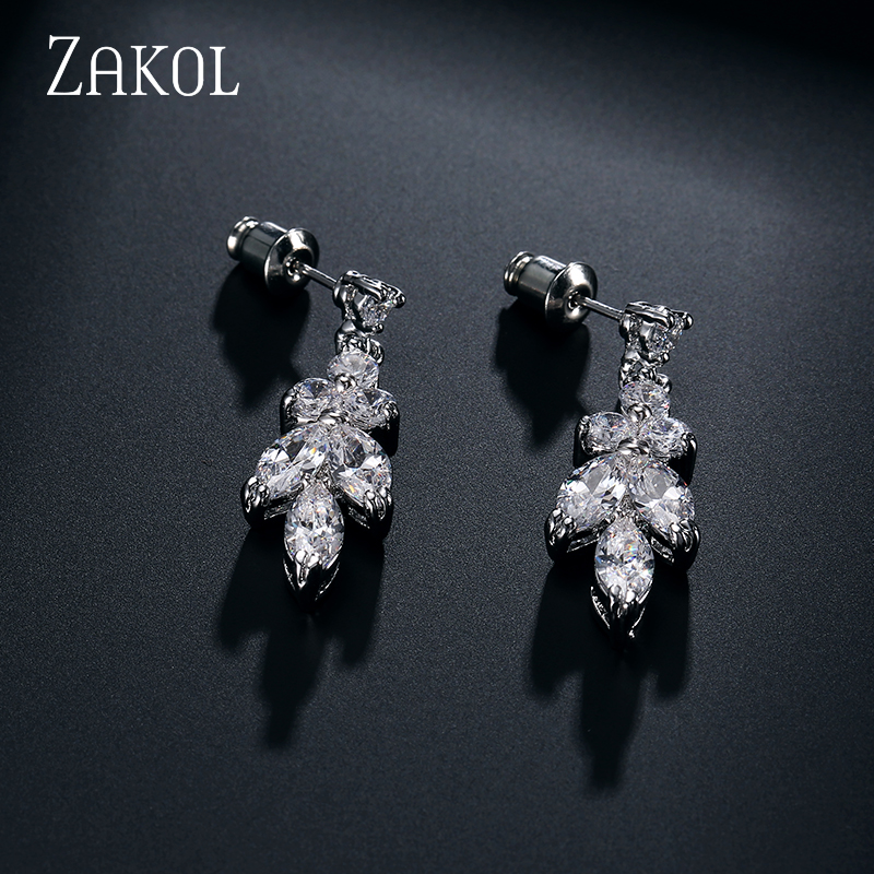 ZAKOL Simple Fashion White Color AAA+ CZ Zirconia Leaf Earrings Necklace Set for Women Bridal Weddings Jewelry Sets FSSP180