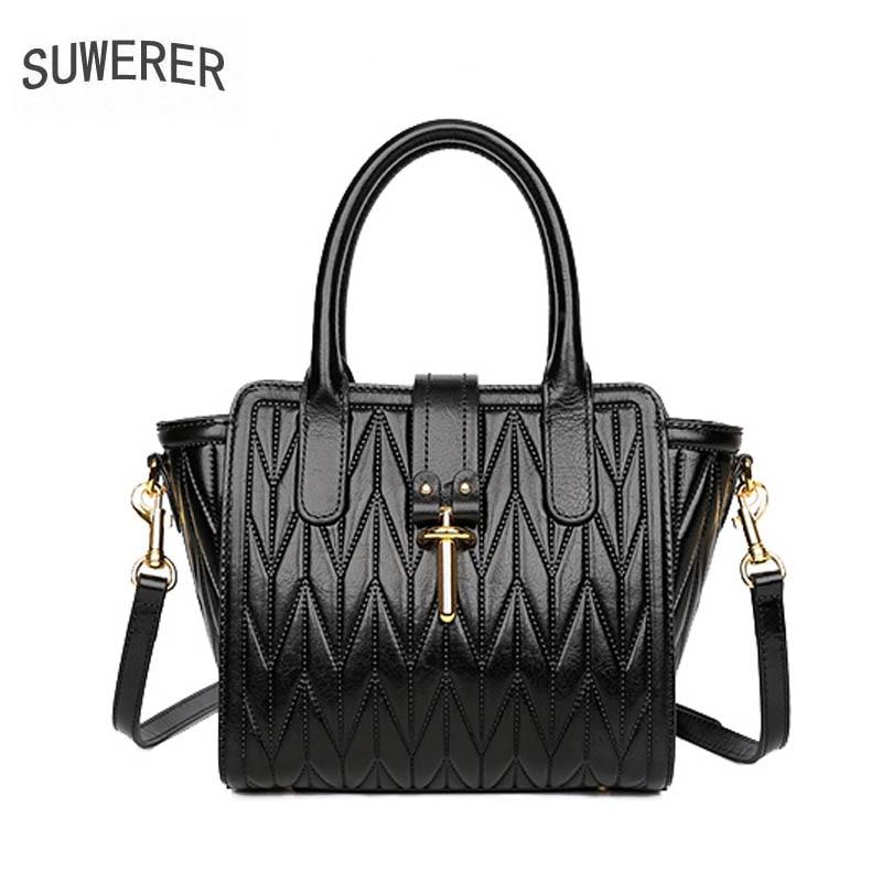 SUWERER designer bags famous brand women bags 2019 new luxury handbags quality cowhide women Genuine Leather bags