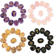 купить TUMBEELLUWA 1Lot (13Pc) Crystal Engraved Gypsy Symbol Witches Rune Set Palm Stone for Healing Meditation Divination по цене 1488.25 рублей