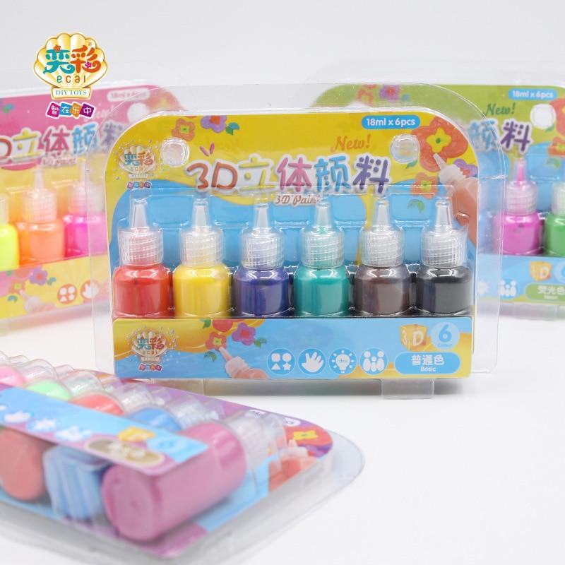 Non-Toxic Kids 3D Acrylic Paint Set Pigment For Children Graffiti DIY Fabric Glass Ceramics Wood Painting Tools Art Supplies