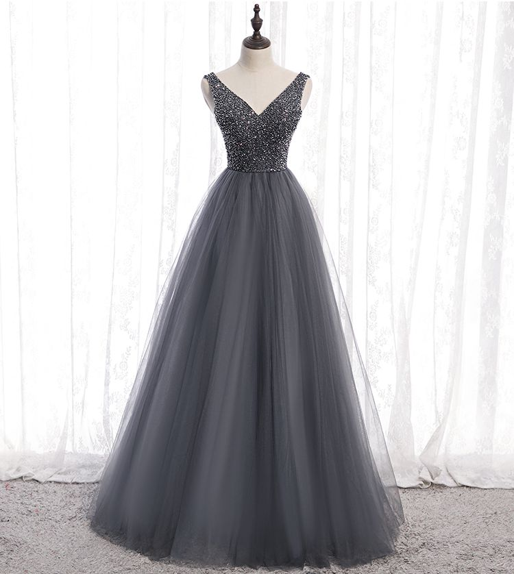 Gray Formal Evening Dresses 2020 Beading Party Long Prom Gowns V Neck Tulle A Line Women Elegant Floor Length Walk Beside You