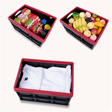 30L Collapsible plastic storage box organizer Durable Stackable Folding Utility Crates with Lid Black Color