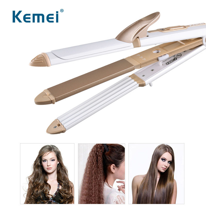 Kemei 3 In 1 Hair Curling Iron Hair Straightener Multifunction Hairdressing Equipment Professional Hair Style Tools 100-240V 45D