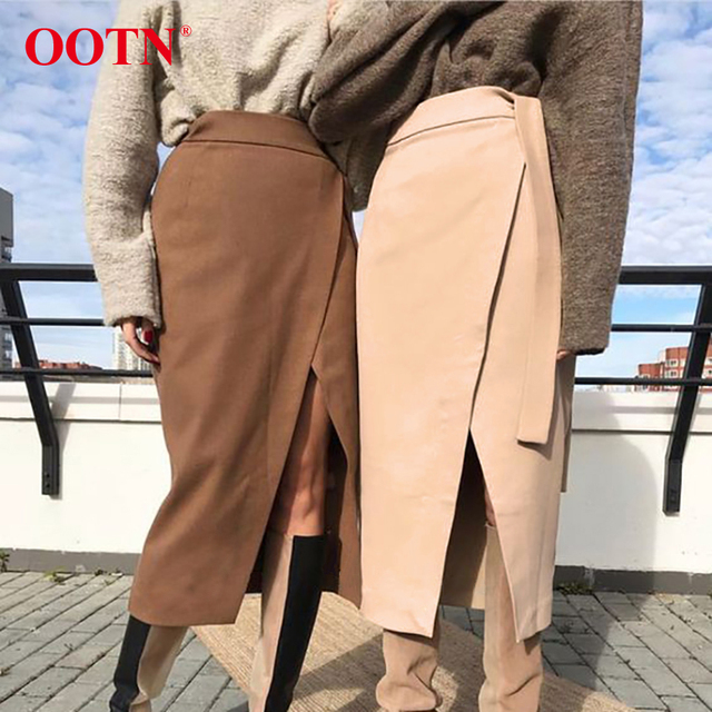 Khaki Suede Long Casual Wrap Lace Up High Waist Skirt Office 1