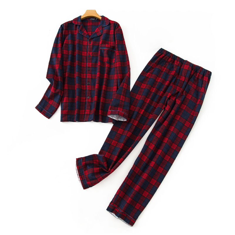 Fashion Red Plaid 100% Cotton Pajamas Sets Mens Casual Sexy Male Sleep Clothing Simple Sleepwear Men Pyjamas Pijama Homewear