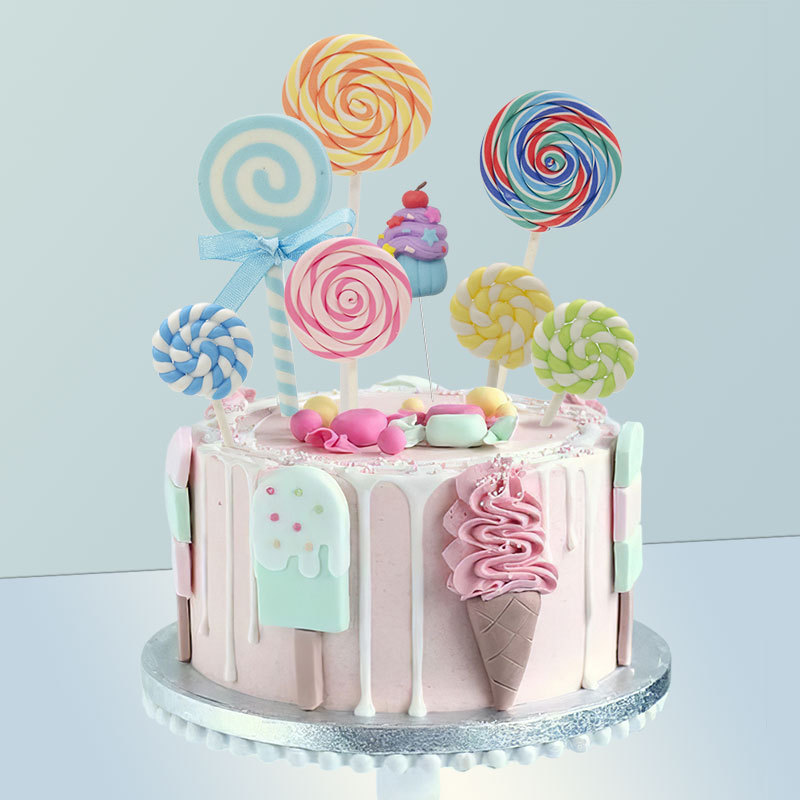 6pcs Creative Lollipop Cake Topper Happy Birthday Party Decor Kids Boy Girl Birthday Lollipop Cake Decor Birthday Party Supplies
