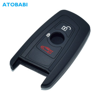 Silicone Car Key Case For BMW F20 F30 F32 F07 F12 F02 F25 F26 Smart Remote Fob Protector Cover Black Keychain Bag Auto Accessory image