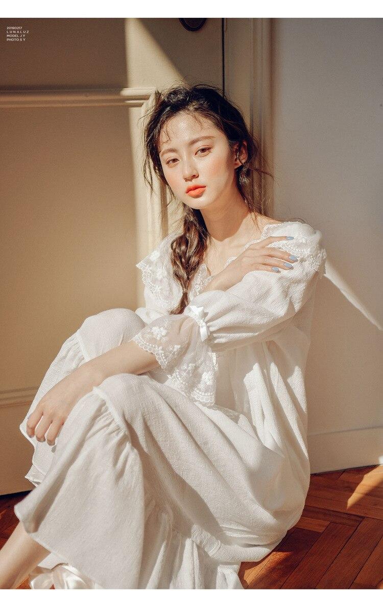 Spring Autumn Womens Soft Pure Cotton Vintage Lace Princess Pajamas Women's Cute   Nightgown   Sleepwear Vestidos Retro   Sleepshirts