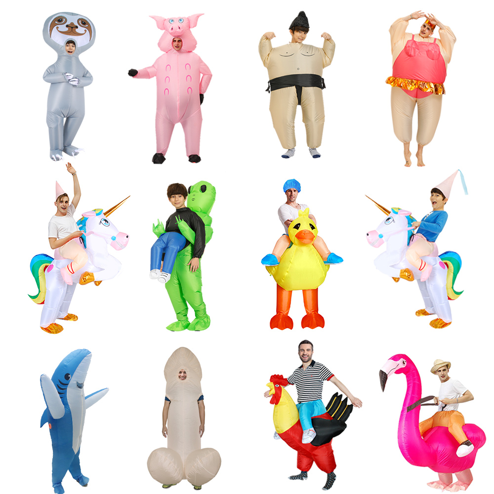 Inflatable Dinosaur Costume Alien Sumo Party Costumes Unicorn Suit Animal Cosplay Disfraz Halloween Costumes For Kids Adult