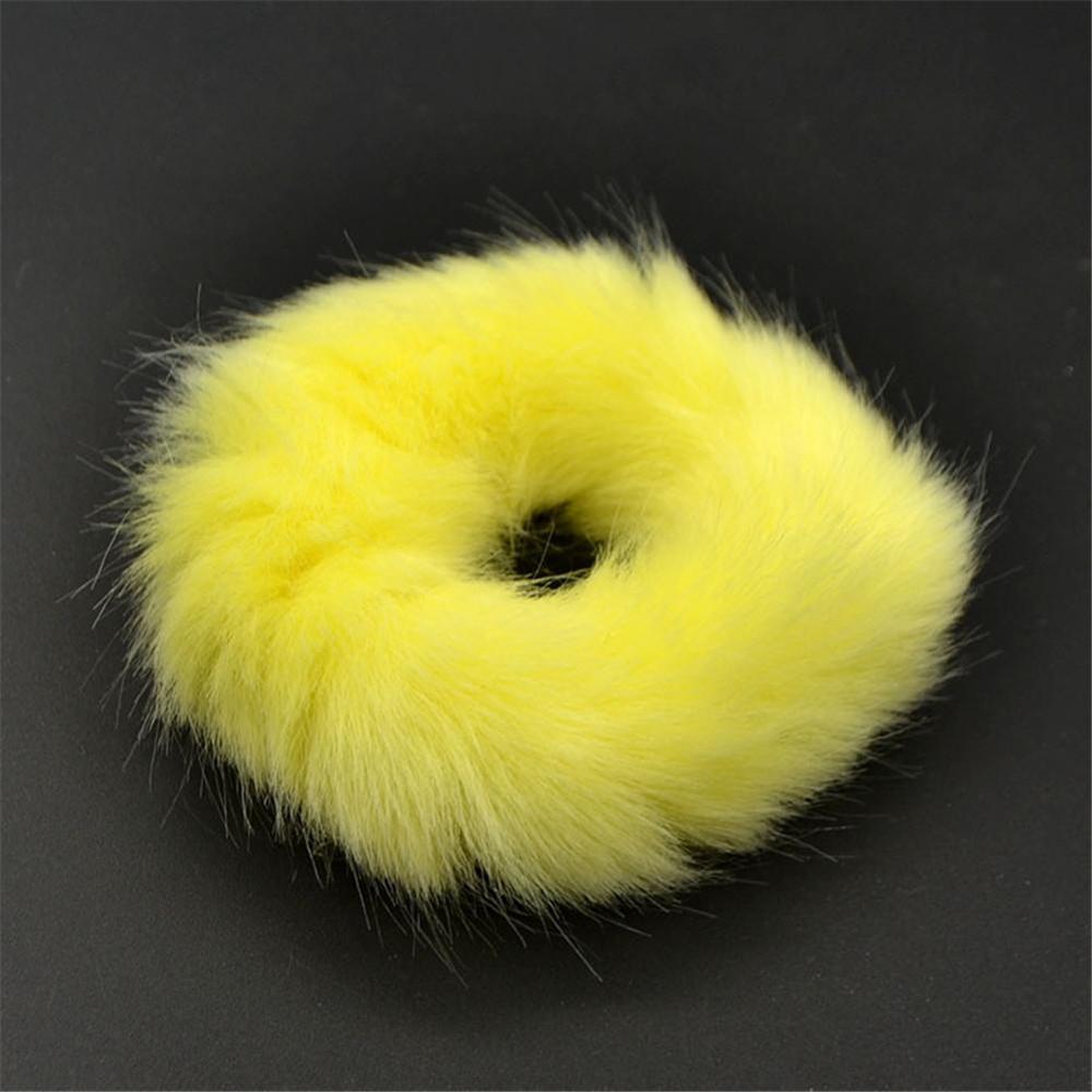 Мягкая Плюшевая повязка для волос резинки для волос натуральный мех кроличья шерсть мягкие эластичные резинки для волос для девочек однотонный цветной хвост резинки для волос для женщин - Цвет: 12