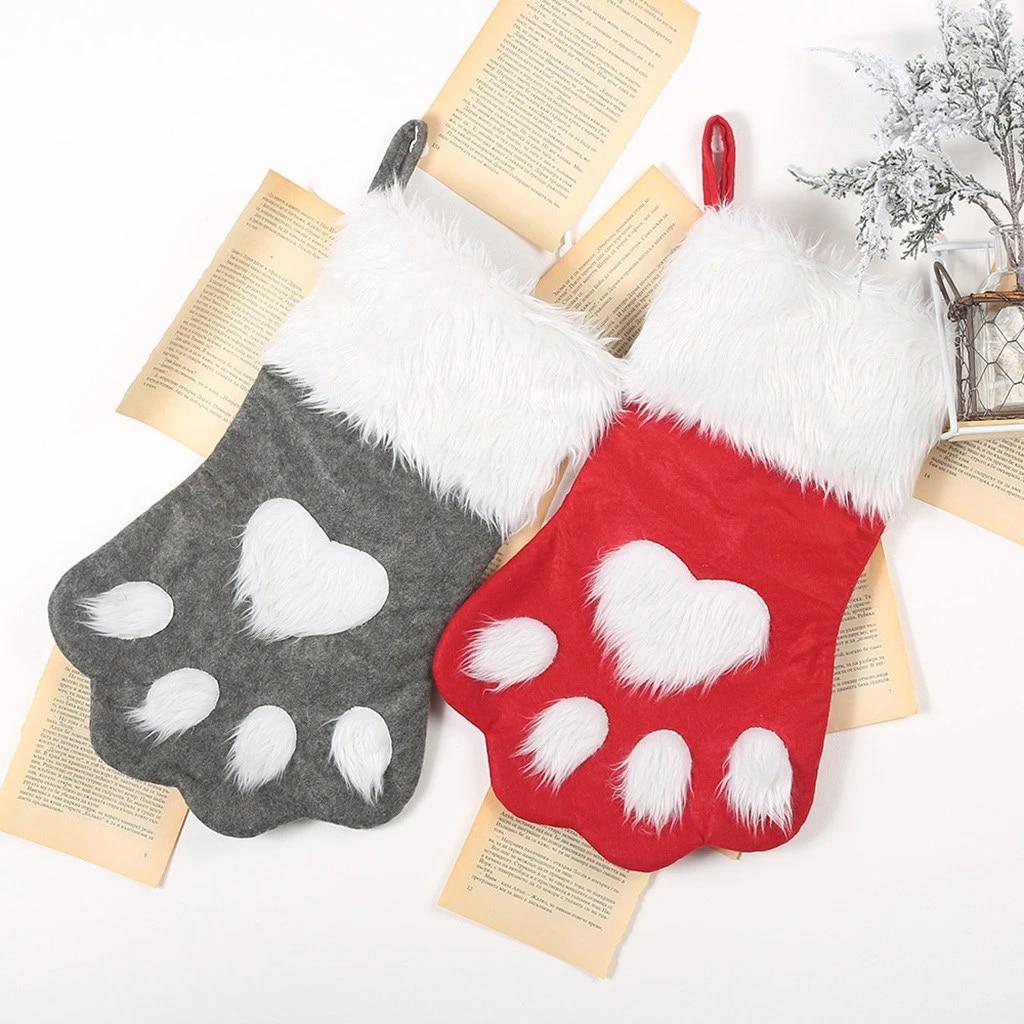 Christmas Gift Bags Pet Dog Cat Paw Stocking Socks Plaid Xmas Tree Ornaments Red
