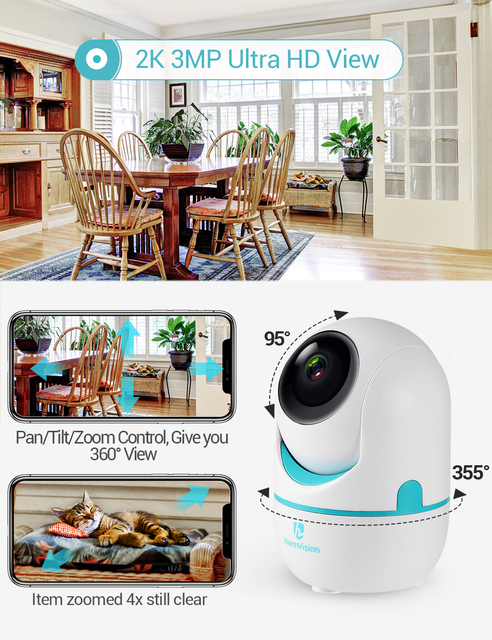 HeimVision HM202A 2K IP Camera Wifi Security Cam 2 Way Audio Motion Detect Night Vision Surveillance PTZ Camera Home/Baby/Pet 2