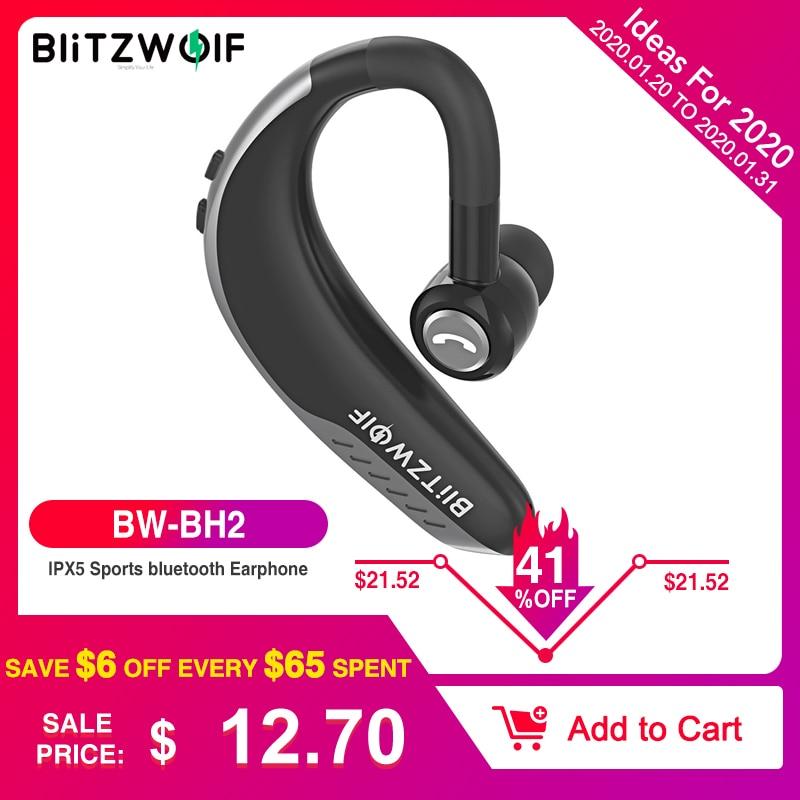 BlitzWolf IPX5 Wireless bluetooth 5.0 Earphone Single Business Sports Earhook Handsfree Calls Car Driving Driver Headphone Mic