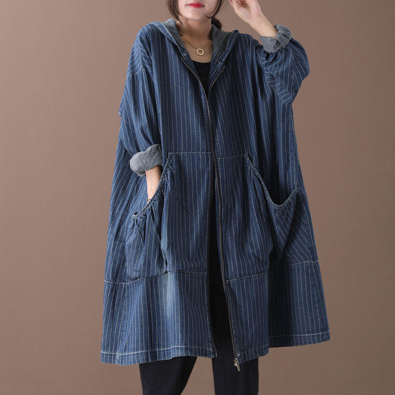 Female new autumn and spring korean style plus size outerwear literary striped do-washed loose denim   trench