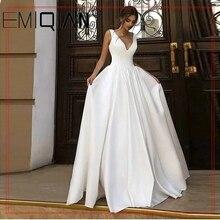Sexy profundo v neck vestidos de casamento uma linha de cetim branco rendas até vestido de noiva sem mangas vestido de noiva