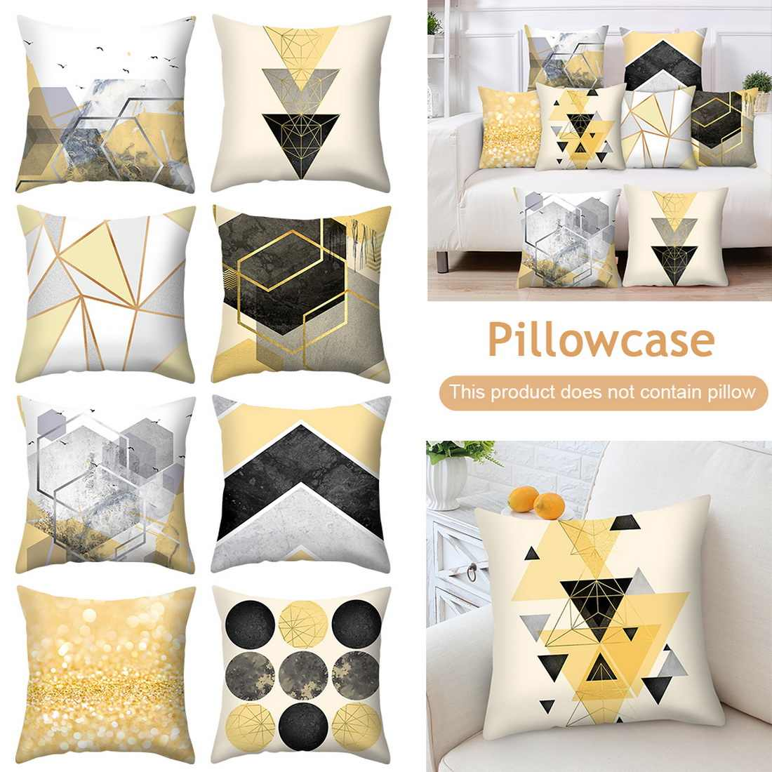 Urijk Yellow Geometric Printed Throw Pillow Case Sofa Car Waist Cushion Cover Home Decor Kussenhoes Housse de Coussin Pillowcase