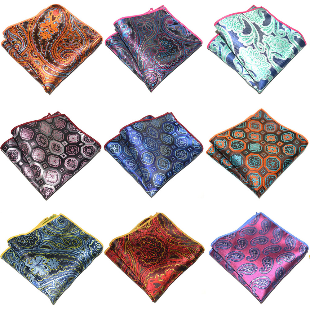 Mens Handkerchief Geometric Paisley Pattern Wedding Party Hanky Pocket Square