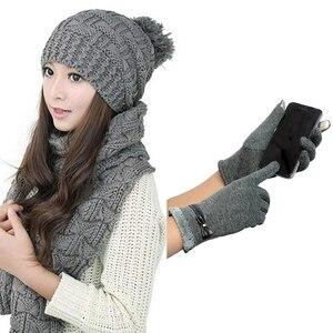 1 pièces femmes hiver tricoté écharpe et ensemble de chapeaux épaissir Skullcaps & 1 paire presse gants hiver chaud gants mitaines pour presse éboulis