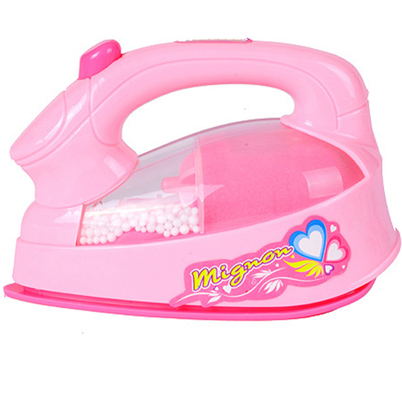 Girl Pretend Play Mini Electric Iron Plastic Pink Safrty Plastic Light-up Simulation Kids Children Baby Girl Home Appliances Toy