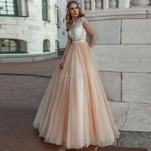Цвет шампанского, А линия, свадебные платья 2019, кружевные аппликации, без рукавов, совок, подвенечные свадебные платья, кнопка, иллюзия, Vestido De Noiva