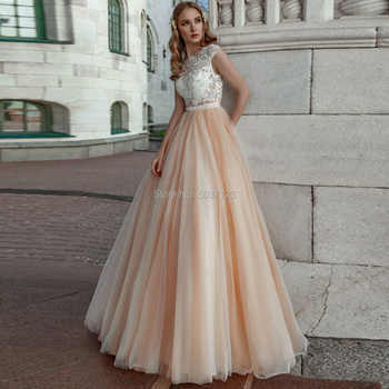 Champagne A Line Wedding Dresses 2019 Lace Appliques Sleeveless Scoop Bridal Wedding Gowns Button Illusion Vestido De Noiva - DISCOUNT ITEM  0% OFF All Category
