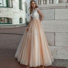 Champagne une ligne robes De mariée 2019 dentelle Appliques sans manches Scoop robes De mariée De mariée bouton Illusion Vestido De Noiva