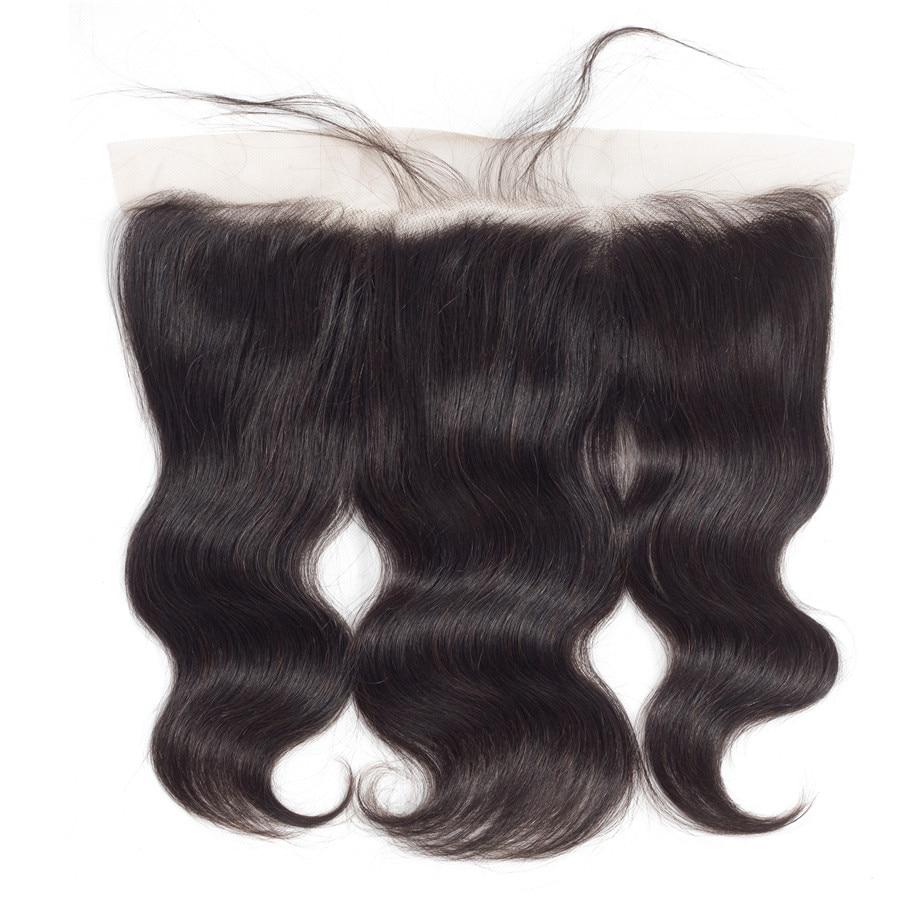 """Fechamento da onda do corpo pré arrancado 13x4 fechamento peruano frontal do cabelo humano do laço com cabelo do bebê cullinan remy cor natural 8 """"-24"""""""