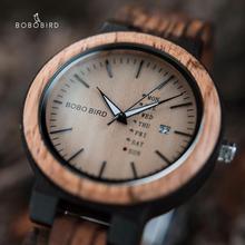 レロジオmasculinoボボ鳥ウッド腕時計男性erkek kol saati週表示日付japan quartzメンズ腕時計受け入れるドロップ無料