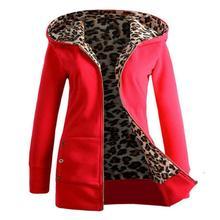 Hot 2020 Women Leopard Outwear coat Warm Wool Loose Hooded Zipper Winter Long Sleeve Jacket