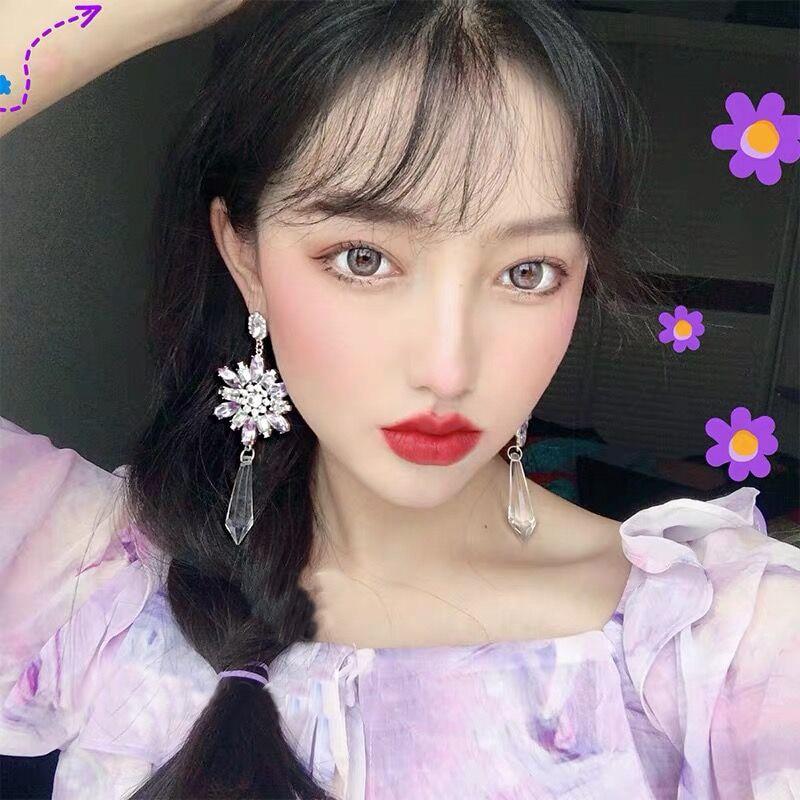 Купить женские висячие серьги с фиолетовыми кристаллами корейские повседневные