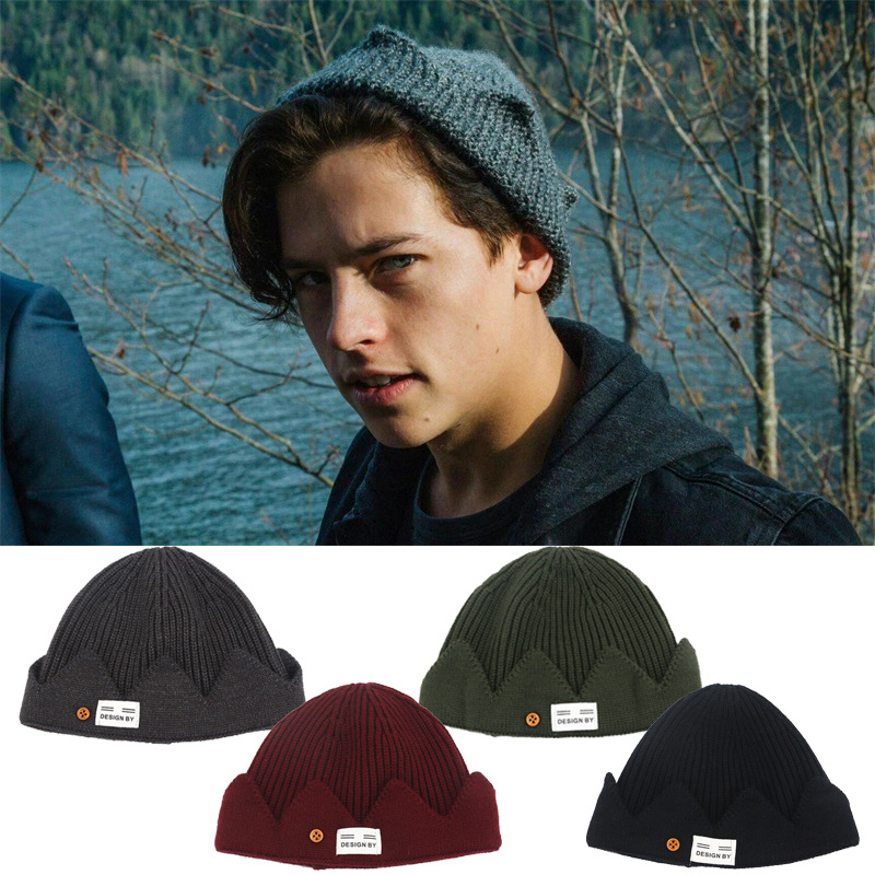 Hot Jughead Jones Riverdale Cosplay Costume Hat Warm Beanie Hat Topic Exclusive Crown Knitted Cap Hat Embroidered Dome